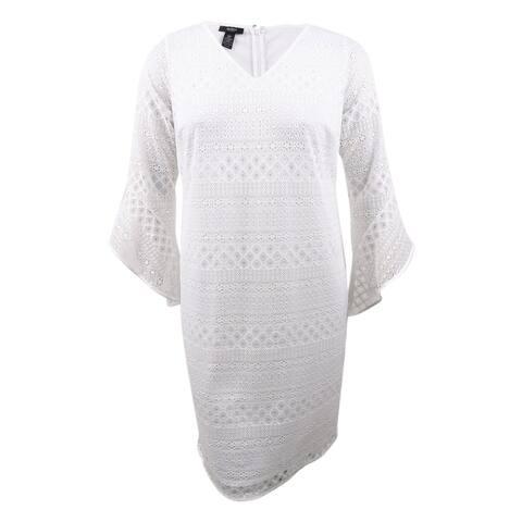 Alfani Women's Plus Size Lace Shift Dress - Bright White