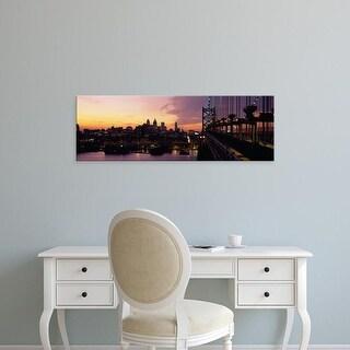 Easy Art Prints Panoramic Image 'Bridge over a river, Benjamin Franklin Bridge, Philadelphia, Pennsylvania' Canvas Art