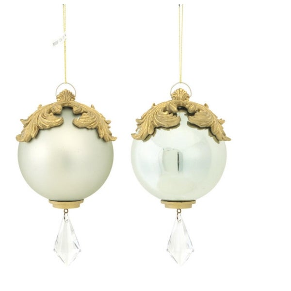 """Set of 2 Silver and Gold Raised Acanthus Leaf with Clear Jewel Dangle Christmas Ornament 6.5"""""""