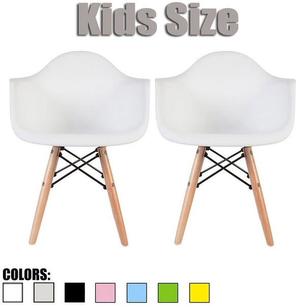 2xhome Set of 2 Kids Size Chair Armchair Eiffel Light Wood Leg Dowel Town For Dining Kitchen Activity School Student Bedroom