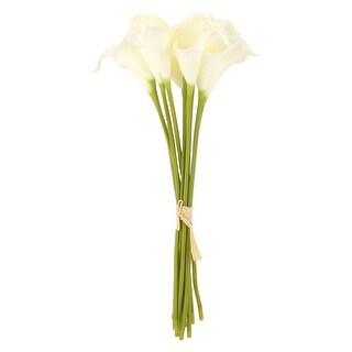 Bridal Wedding Party Decor Calla Lily Artificial Flowers Bouquet White 10 Pcs