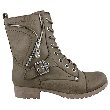 Guess Womens Brylee Leather Combat Style Fashion Boots Grey