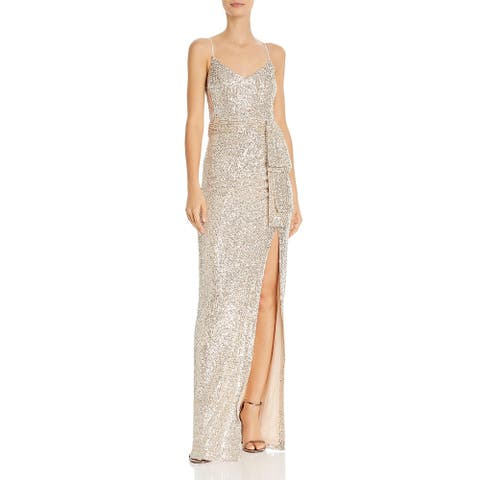 Likely Womens Emile Evening Dress Mesh Sequined - Silver