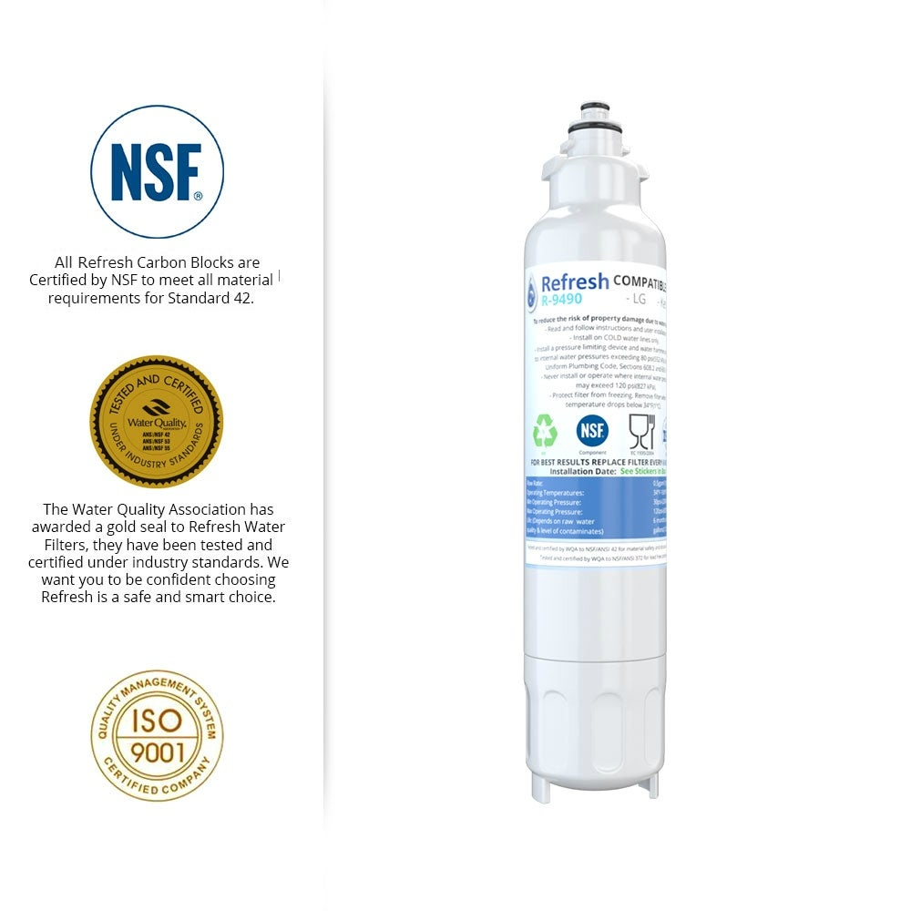 Fits LG RWF3500A Refrigerators 4 Pack Refresh Replacement Water Filter