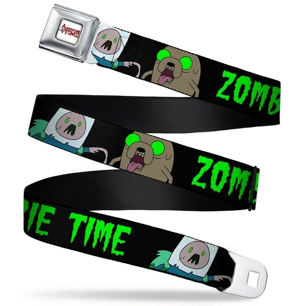 Adventure Time Logo White Full Color Finn & Jake Zombie Time Black Green Seatbelt Belt