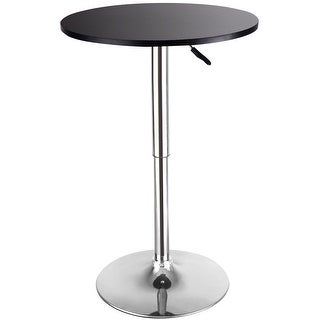 Costway Modern Round Bar Table Adjustable Bistro Pub Counter Wood Top Swivel Indoor