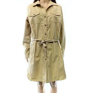 Lauren Ralph Lauren NEW Beige Tan Women's Size XS Belted Shirt Dress