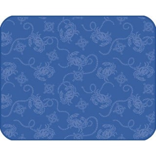 Embossed Blue Crabs Nautical Compass Kitchen Countertop Drying Mat