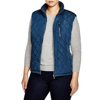 Calvin Klein Womens Plus Outerwear Vest Mixed Media Quilted