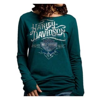 Harley-Davidson Women's Powerful Chrome Soul Long Sleeve Shirt, Green 5V32-HD05|https://ak1.ostkcdn.com/images/products/is/images/direct/5d09887e206988f6c2a24a1b7626fdb3c160f77e/Harley-Davidson-Women%27s-Powerful-Chrome-Soul-Long-Sleeve-Shirt%2C-Green-5V32-HD05.jpg?impolicy=medium