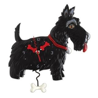 Allen Designs Black Scottie Dog Pendulum Wall Clock - 14.5 X 12 X 2.5 inches