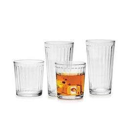 Palais Glassware Colonne Collection; High Quality Column Clear Glass Beverage Set (Set of 16 - 8 17 Oz Highballs - 8 13 Oz DOF