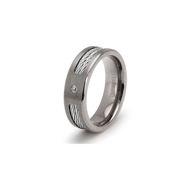 Double Cable Titanium Ring with CZ