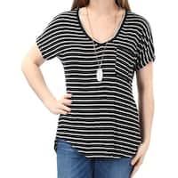 BELLE DU JOUR $19 Womens New 1308 Black Striped Removable Necklace Top M Jr B+B