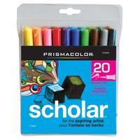 Prismacolor Scholar Low Odor Water Based Marker, Brush Tip, Assorted Colors, Pack of 20