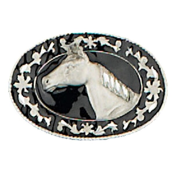 Horsehead Belt Buckle with Detailed Oval Frame - One size