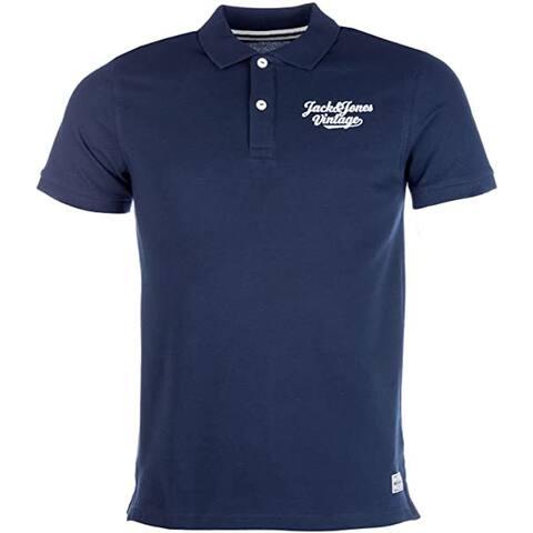 Jack Jones Men's Logo Polo Shirt, Total Eclipse, X-Large