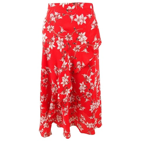 Calvin Klein Women's Printed Ruffled Midi Skirt