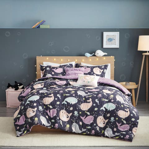 Taylor & Olive Petunia Purple Narwhal Reversible Cotton Comforter Set