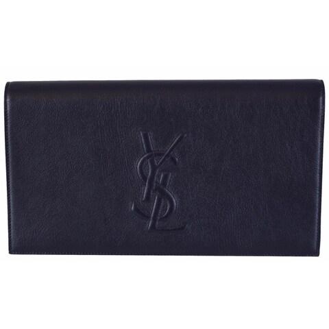 """Saint Laurent YSL 361120 Blue Leather Large Belle de Jour Clutch Handbag - 11"""" x 6"""" x 2"""""""