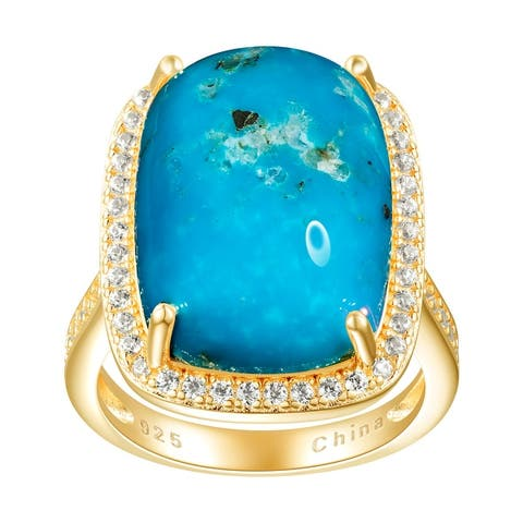 18.35cttw Cushion-Cut Kingman Turquoise Cocktail Ring, Sterling Silver