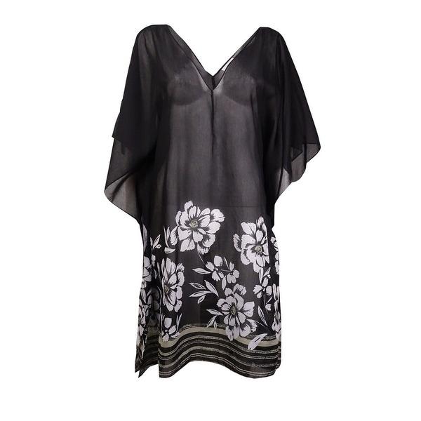Miraclesuit Women's Floral V-Neck Caftan Swim Cover (M, Black) - Black - M
