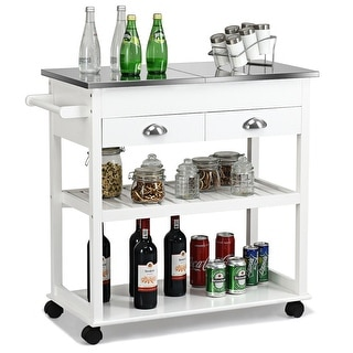 Link to Rolling Kitchen Island Trolley Cart Stainless Steel Flip Tabletop Similar Items in Kitchen Carts