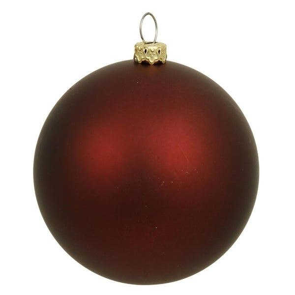 "Matte Burgundy UV Resistant Commercial Drilled Shatterproof Christmas Ball Ornament 2.75"" (70mm) - RED"