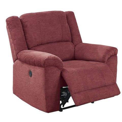 39 Inch Fabric Power Recliner with Stitched Details, Red