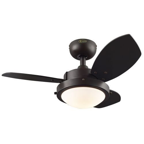 "Westinghouse 7224500 Wengue 30"" 3 Blade Hanging Indoor Ceiling Fan with Reversible Motor, Blades, Light Kit, and Down Rod"