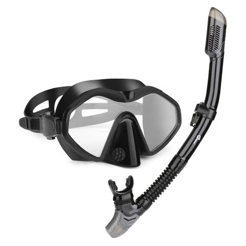Odoland Snorkel Mask with Dry Snorkel, Great 2-In-1 Snorkeling Gear for Adult, Black - L