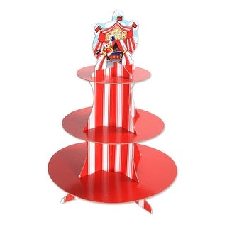 """Pack of 12 Red and White Circus Tent Three-Tiered Birthday Cupcake Stand 16"""""""