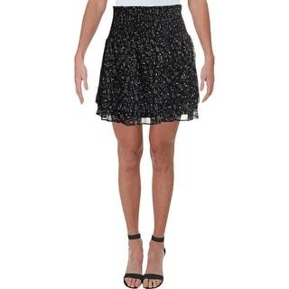Aqua Womens Tiered Skirt Printed Smocked - Black/White