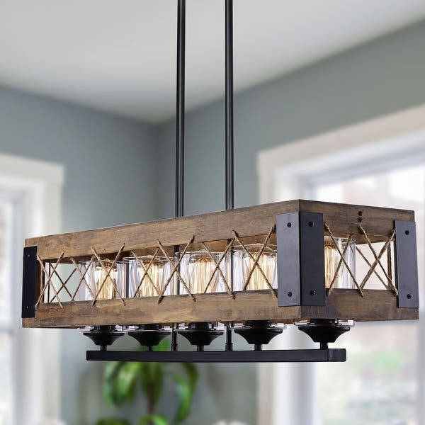 Black Farmhouse Kitchen Island Dining Room Pendant Light Modern 5 Light Chandelier Rectangle Metal Industrial Ceiling Light Fixtures For Living Room Foyer Bar Black Chandeliers Ceiling Lights