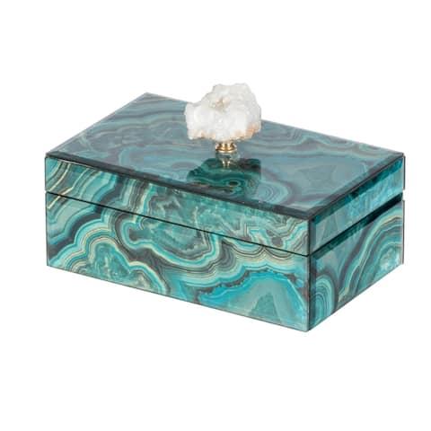 A&B Home Bethany Blue Wood Marbled Decorative Box