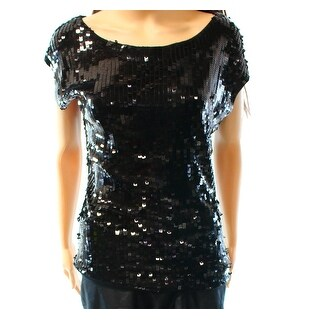 Designer Brand NEW Black Women Size Medium M Scoop Neck Sequined Blouse