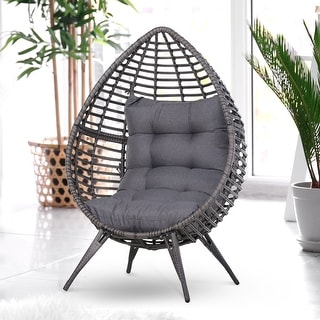 Link to Outsunny Outdoor Indoor Wicker Teardrop Chair with Cushion Rattan Lounger Similar Items in Living Room Chairs
