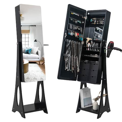 Full Mirror Wooden Floor LED Light Jewelry Storage Adjustable Arc Mirror Cabinet