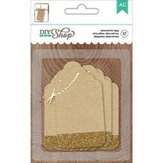 Kraft W/Gold Glitter - DIY Shop 2 Tags 12/Pkg