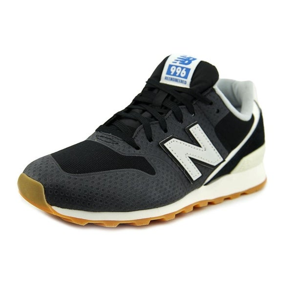 New Balance WR996 Women D Round Toe Leather Black Sneakers