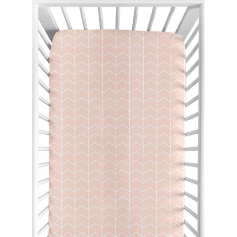 Sweet Jojo Designs Blush Pink and White Chevron Arrow Watercolor Elephant Safari Collection Fitted Crib Sheet