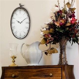 Stratton Home Decor Antique Oval Clock, 19.25 x 10.75 x 2.25 in.