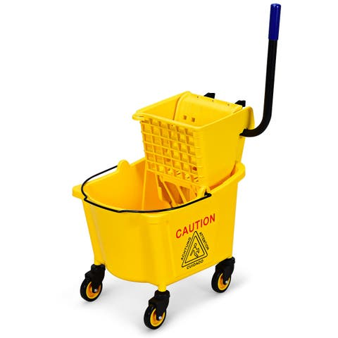 Costway Commercial Mop Bucket Side Press Wringer on Wheels Cleaning 26 Quart Yellow - yellow, black