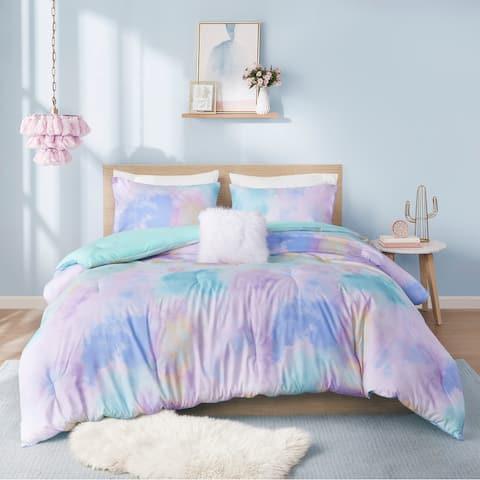 Karissa Aqua Watercolor Tie Dye Printed Comforter Set by Intelligent Design