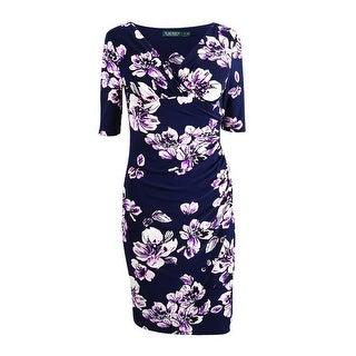 Lauren by Ralph Lauren Women's Floral Faux-Wrap Jersey Dress