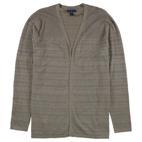 Karen Scott Womens Pointelle Cardigan Sweater, Brown, X-Large