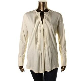 LRL Lauren Jeans Co. Womens Pintuck Long Sleeves Henley Top