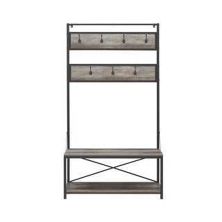 """Offex 72"""" Industrial Metal and Wood Hall Tree - Grey Wash"""