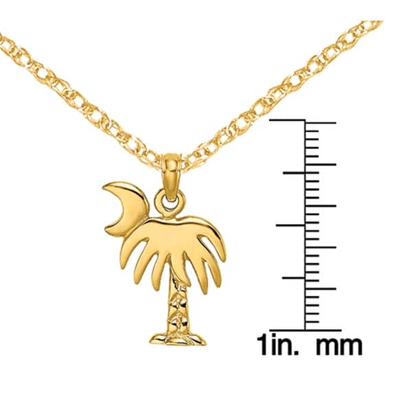 Details about  /14K Yellow Gold Enamel Palm Tree Charleston On Round Frame Pendant MSRP $334
