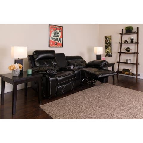 "Reel Comfort Series 2-seat Reclining Leather Theater Seating Unit with Curved Cup Holders - 79""W x 37"" - 66""D x 40""H"